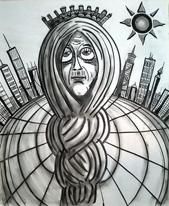 """Citifair"" (charcoal on paper) by William Erickson"