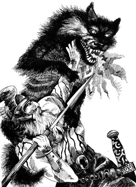 """Fight"" (ink on paper) by Anastasia Mikhailova"