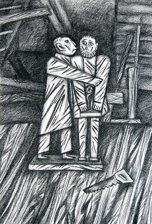 """The Judas Kiss"" (charcoal) by Nataliia Danilova"