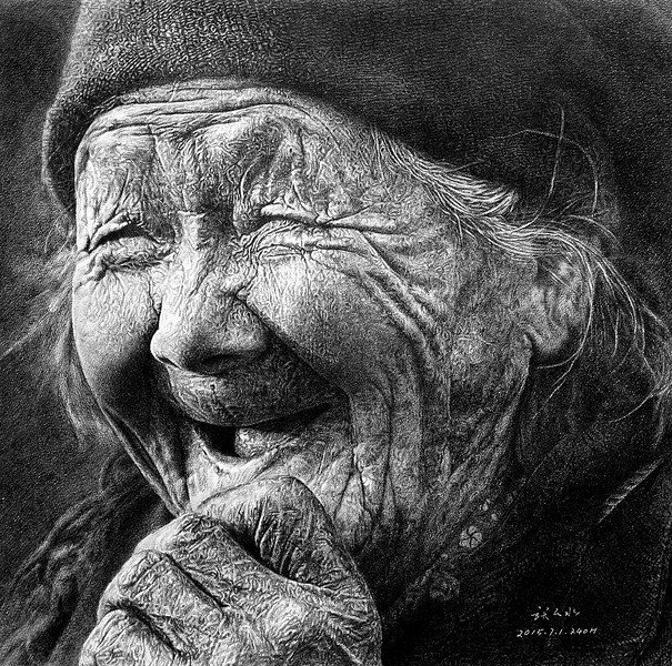 """Old grandma"" (pencil on paper) by Yunshui Zhang"