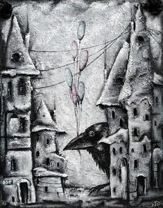 """Black and white dream"" (bas relief- plywood, oil) by Irina Borisova"