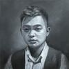 """""""Artist self portrait"""" (oil on board) by Zhou Yang"""
