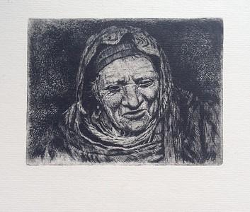 """""""mountain woman"""" (etching) by Galina Alilova"""
