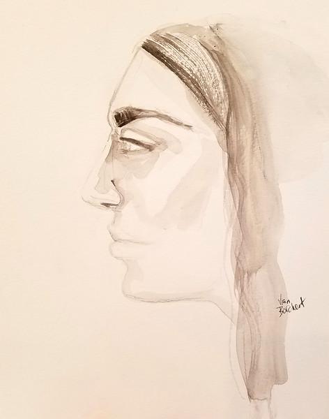 """Luna"" (ink on paper) by Vian Borchert"