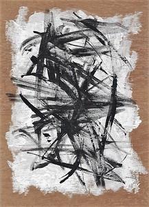 """Black, White & Wood"" (acrylic on wood) by Carol Bertolotti"