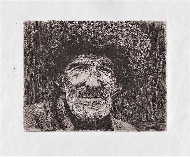 """""""Hosrekh resident"""" (etching) by Galina Alilova"""