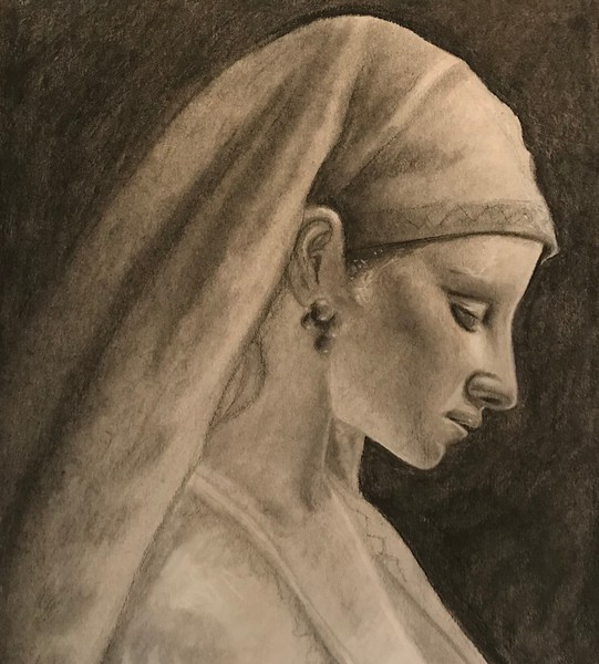 """""""Young Woman"""" (pencil) by Juan Andres"""