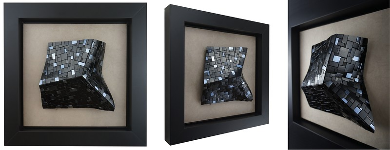 """Kuri Piegare 9122"" (mixed media - vitreous glass, 24k gold smalti, porcelain, paper) by A.M. Benz"