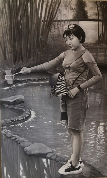 """""""College girl"""" (oil on linen) by Xiaobing Wang"""