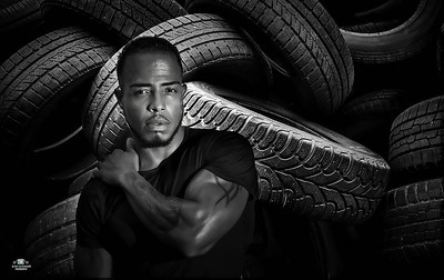 used car tires pile in the tire repair shop yard