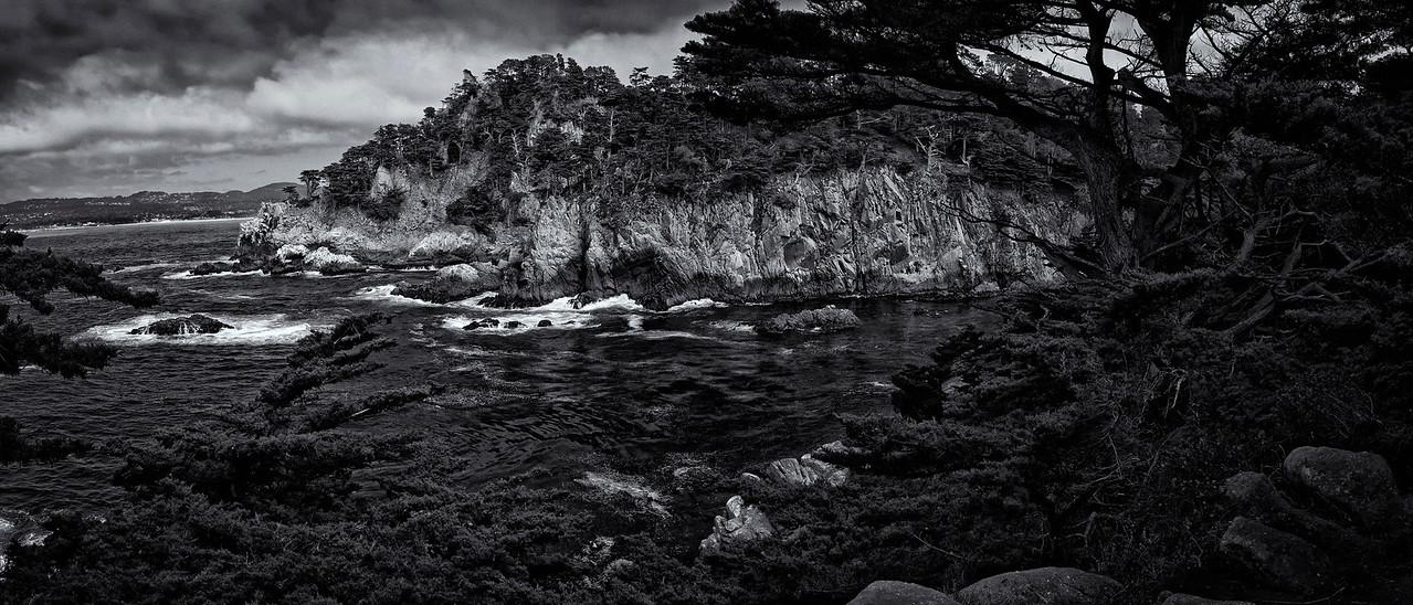 Point Lobos Pano B&W