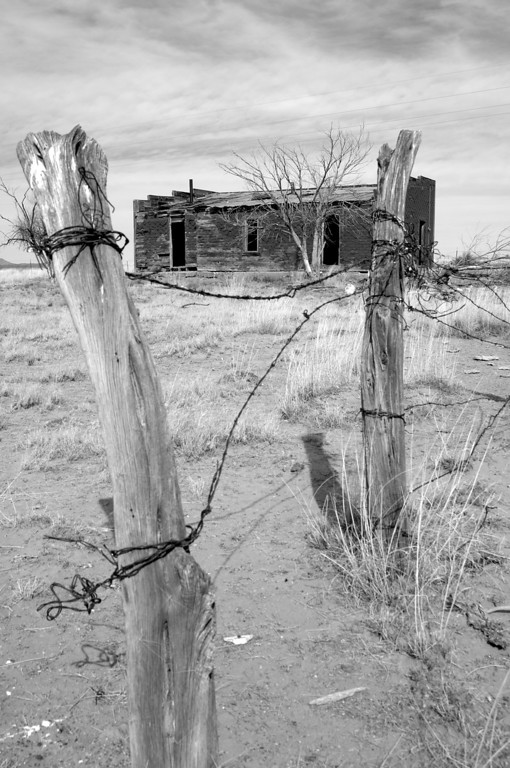 Cabin and wire fence, New Mexico