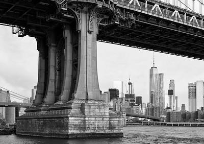 Manhattan Bridge Support and Skyline