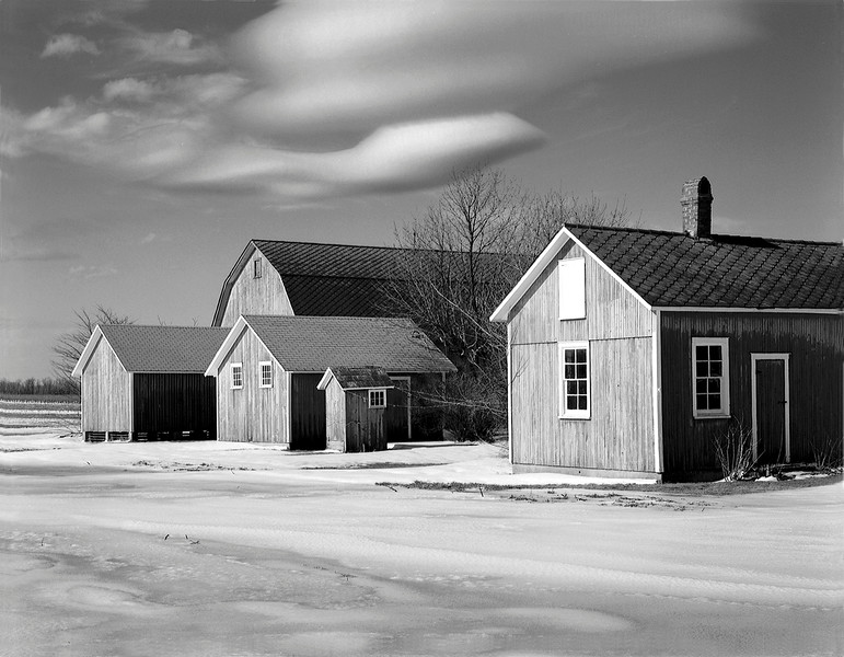 Farm Buildings and Clouds