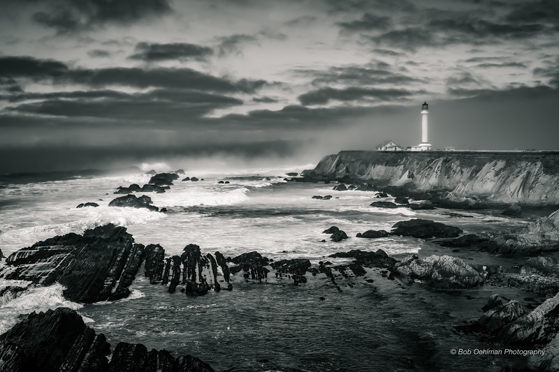 Lighthouse Guarding Against the Approaching Storm