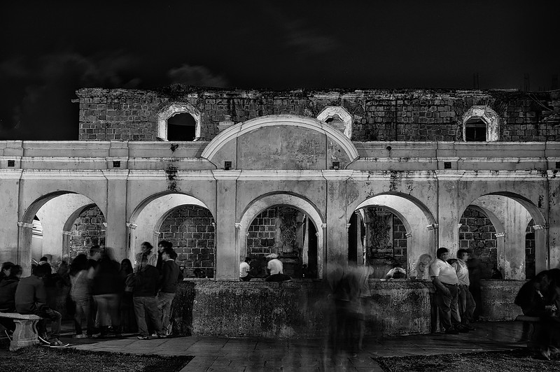 """Chilling amongst ruins. Fountain and water deposit """"La Union"""" in Antigua Guatemala, baroque colonial capital.  UNESCO World Heritage."""