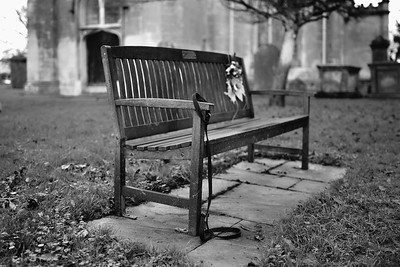 Church Yard bench with Dog Lead