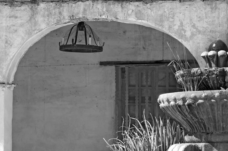 Fountain, Arch, and Chandelier<br /> <br /> Mission San Miguel, California