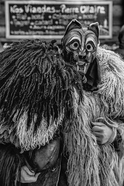 Handsome Pelouche.  Ancient celtic traditions, the Pelouches protect villagues and scare away bad spirits of winter, waiting the arrival of Spring. Carnival celebtraion in Val d'Herens, Valais, Switzerland.