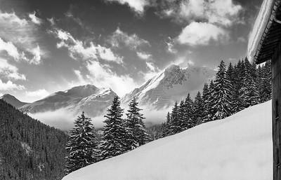 Flüela pass near Davos during winter