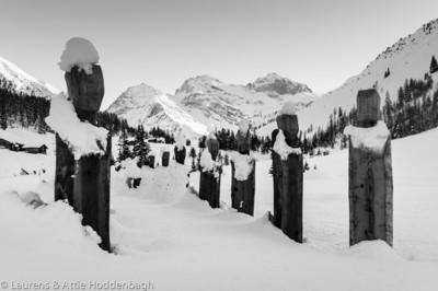 Wooden statues in Sertigtal near Davos