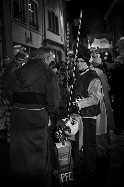 Why the sad face? Minutes before the beginning of the Morgestraich at the Basler Fasnacht. UNESCO Intangible Cultural Heritage.