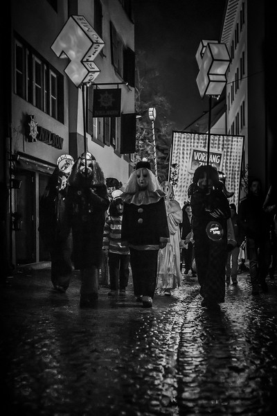 Morning lights march. Morgestraich parade in old streets of Basel during Fasnacht. UNESCO Intangible Cultural Heritage.