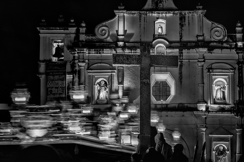 Baroque faith. Entrance of a procession during holy week celebrations in San Cristobal El Bajo, Antigua Guatemala. UNESCO World Heritage
