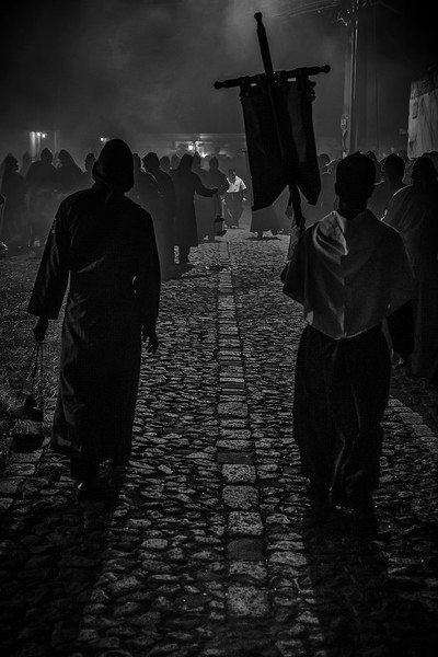 Walking penitents. Procession of San Bartolome Becerra, celebrating Lent in Colonial Baroque, Antigua Guatemala. UNESCO World Heritage.
