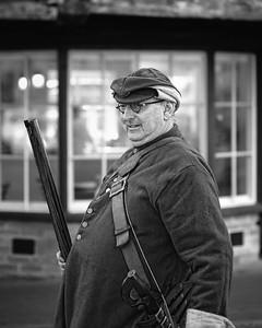 Newbury Roundhead reenactor with musket