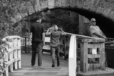 Park Drinkers and a Bargee - The  Kennet and Avon Canal Newbury original