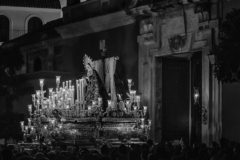 "The entrance of the Virgin of the Solitude ""Soledad"" into her temple of San Lorenzo, by midnight of holy Saturday marks the end of the holy week of passion in Seville, only pending the procession of the ressurection on Sunday."
