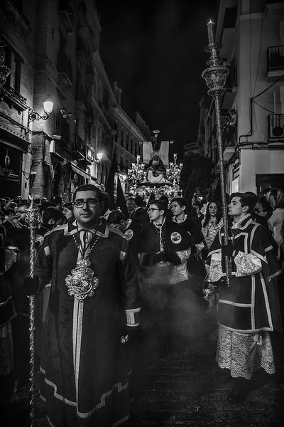 Acolitos, leading the throne during the processions of holy week in Seville.