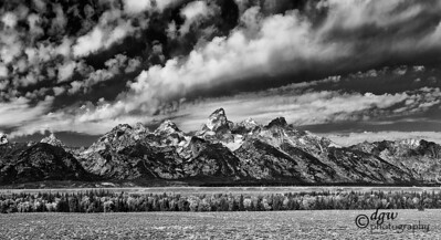 Grand Teton main Cathedral group. This is a crop from a 13 image pano taken in Sept 2008