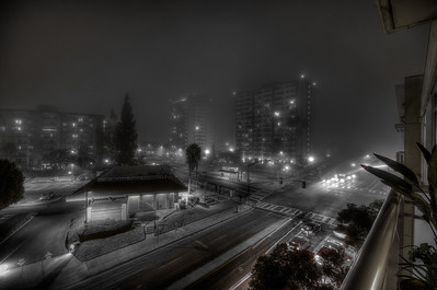 Foggy University Ave in San Diego