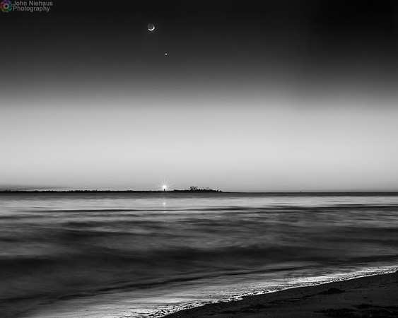 Moon, Venus, and Lighthouse