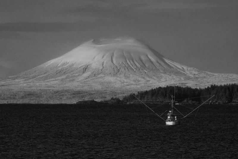 Mt. Edgecumb and trawler