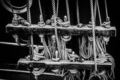 Old ship rigging Buckie Harbour Northeast Scotland