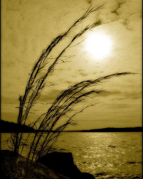 sun over Thunderbird Lake
