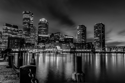 Boston Fan Pier black & white