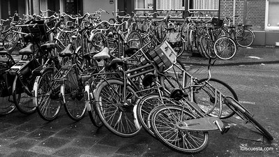Amsterdam - bikes piled up