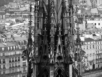 Notre Dam tower and roof tops in Paris