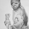 """Carlisha as Raphael of the TMNT"" (graphite) by Jessica Burke"
