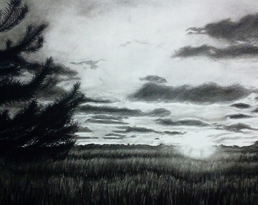 """Bliss Sunset"" (charcoal) by Luke Engle"