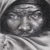"""""""Yin/Yang Advancing"""" (charcoal/black chalk on white paper) by Rose Ann Bernatovich"""