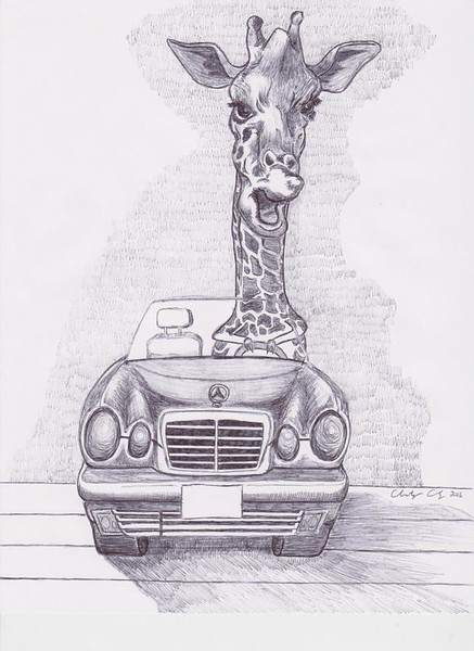 """Impatient Driver Giraffe"" (pen and ink) by Christopher Chung"