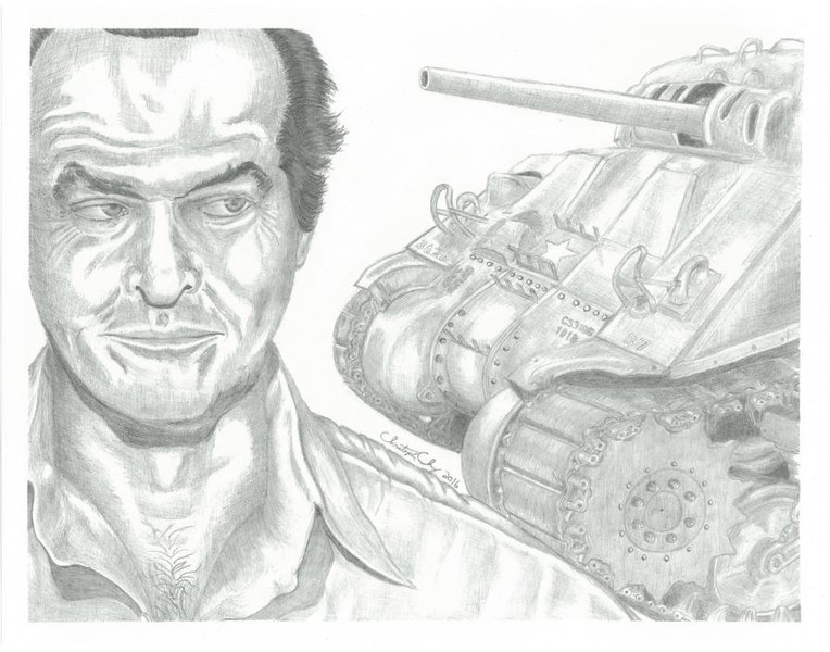 """Jack Nicholson Encounters A Tank Inside The Matrix"" (graphite) by Christopher Chung"