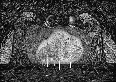 """Newborn Darkness"" (black gel pen & sketch markers, white paper) by Anton Markin"