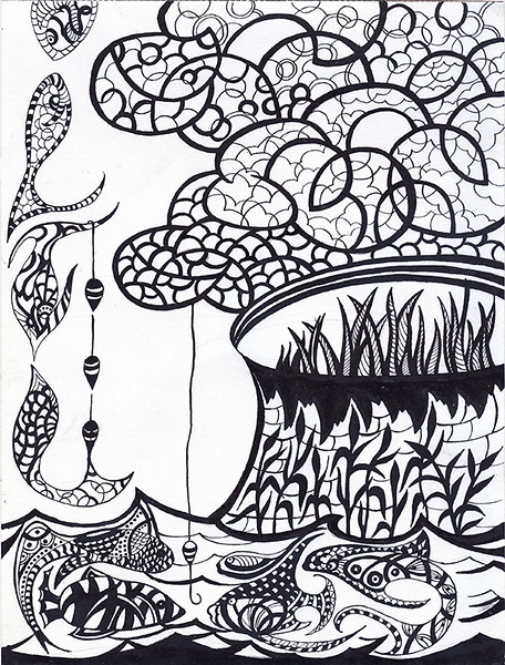 """""""Once on a fishing"""" (ink) by Veronika Abramova"""