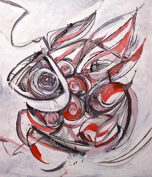 """Fish Graphics"" (oil, charcoal, canvas, wooden base) by Olya Kartavaya"